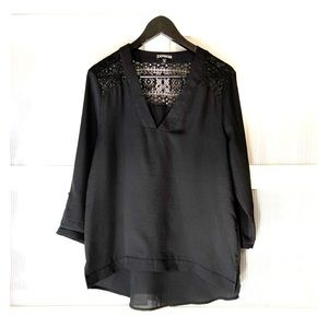 Express Black Tees 3/4 sleeves Vneck with Lace
